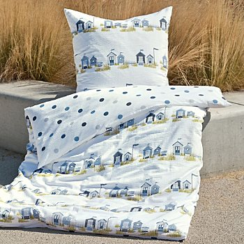 Janine soft seersucker reversible duvet cover set