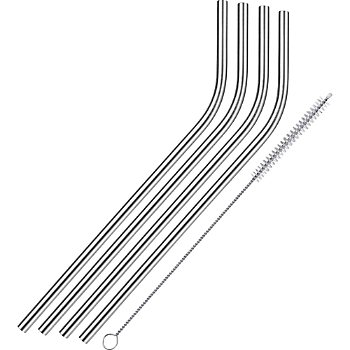 Westmarkt 4-pack stainless steel straws incl. cleaning brush