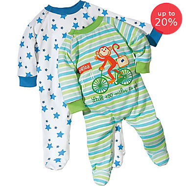 Erwin Müller sleepsuits in double pack