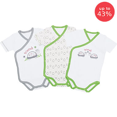 Pack of 3 Erwin Müller wrap style bodysuits