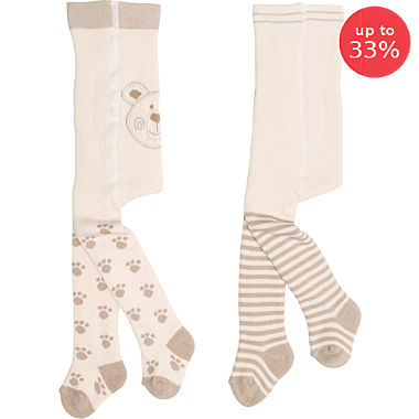 Pack of 2 terry thermal tights, bear