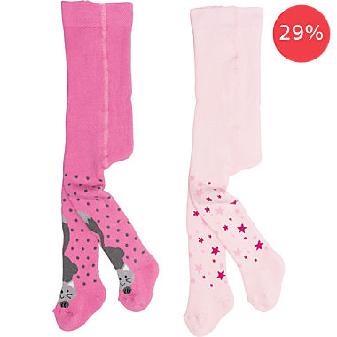 Pack of 2 terry thermal tights, cat