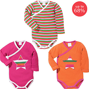 Erwin Müller 3-pack baby wrap bodysuits
