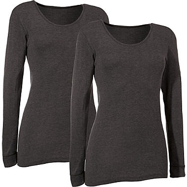 2-pack women's long sleeve underwear tops
