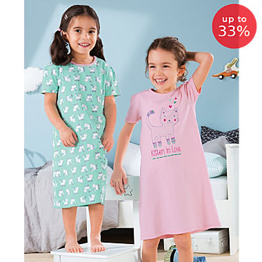 Erwin Müller single jersey 2-pack girl's nightdresses
