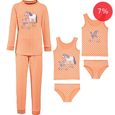 Erwin Müller single jersey 6-piece girls pj & underwear set