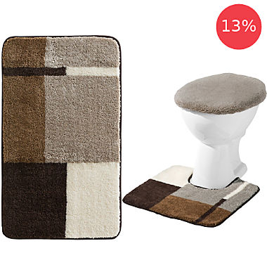 Erwin Müller 3-piece bath mat set with cut-out