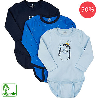 Me Too 3-pack organic cotton baby bodysuits