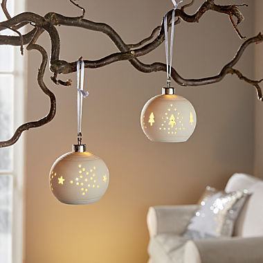 2-pack LED Christmas baubles