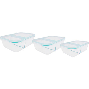 Steuber glass fresh fodd box with divider